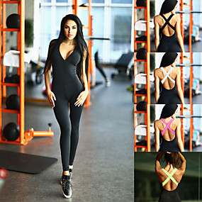 cheap Yoga & Fitness-Women's Workout Jumpsuit Open Back Color Block Black Spandex Fitness Gym Workout Dance High Waist Bodysuit Romper Sleeveless Sport Activewear Tummy Control Butt Lift Moisture Wicking High Elasticity