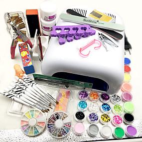 voordelige Nageldrogers & Lampen-35pcs Schattig Nail Art Kit Voor vinger Nagel kunst Manicure pedicure