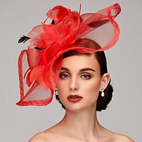 voordelige Melbourne Cup Carnival Hats-Veer / Net Kentucky Derby Hat / fascinators / Helm met Veer / Bloemen / Bloem 1pc Bruiloft / Speciale gelegenheden  / Teaparty Helm