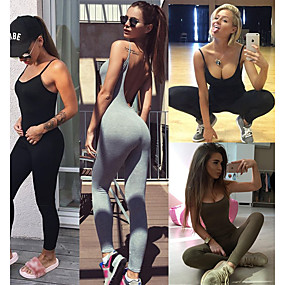 cheap Yoga & Fitness-Women's Workout Jumpsuit Open Back Solid Color Black Army Green Grey Fitness Gym Workout Running Bodysuit Romper Sport Activewear Butt Lift Breathable Quick Dry Soft Power Flex Stretchy Slim