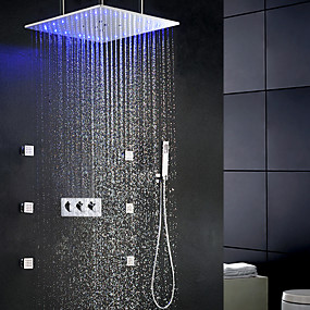 preiswerte Renovierung-zeitgenössische Swash Regen Dusche Wasserhahn Set / 20 Zoll Badezimmer LED Duschkopf / Messing Handbrause enthalten / 6 Stück Spa-Massage Körper Sprayer Jets Bad Dusche Mischbatterien