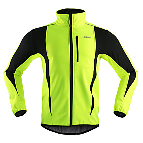 cheap Under €29-Arsuxeo Men's Cycling Jacket Bike Jacket / Winter Fleece Jacket / Top Windproof, Thermal / Warm, Breathable Stripe Polyester, Spandex, Fleece Winter Orange / Red / Light Green Road Cycling Relaxed Fit