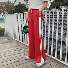 cheap Running & Jogging-Women's High Waist Joggers Jogger Pants Streetwear Track Pants Sweatpants Athleisure Wear Bottoms Wide Leg Winter Fitness Gym Workout Workout Breathable Quick Dry Soft Sport Stripes Black Red Blue