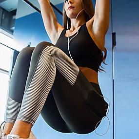 cheap Yoga & Fitness-Women's High Rise Pocket Yoga Pants Print Spandex Mesh Zumba Running Dance Tights Leggings Activewear Butt Lift Tummy Control Power Flex 4 Way Stretch Stretchy Skinny Slim