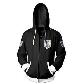cheap Women-Inspired by Attack on Titan Eren Jager Cosplay Costume Hoodie Terylene Cartoon Stylish Hoodie For Unisex / Jacket