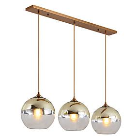 povoljno Viseća rasvjeta-ZHISHU 3-Light Privjesak Svjetla Downlight Electroplated Metal Glass New Design 110-120V / 220-240V Bulb Included