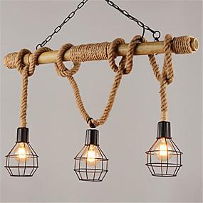povoljno Lámpatestek-3-glava metalni kavez 80cm vintage konoplje konop bambus privjesak svjetla potkrovlje kreativni dnevni boravak restoran odjeća trgovina žarulja