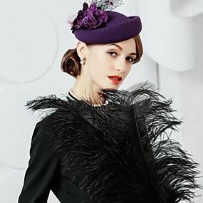povoljno Melbourne Cup Carnival Hats-100% vuna Kentucky Derby Hat / kape s Cvjetni print 1pc Kauzalni / Dnevni Nosite Glava
