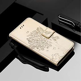 povoljno Maske za mobitele-Θήκη Za Motorola MOTO G6 / Moto G6 Plus / Moto E5 Plus Novčanik / Utor za kartice / sa stalkom Korice Mačka / drvo Tvrdo PU koža
