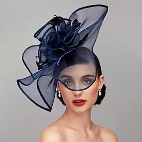voordelige Melbourne Cup Carnival Hats-Antiek Elegant & Luxe Veer / Gaas / Linnen / Rayon Kentucky Derby Hat / fascinators / Helm met Veer / Bloemen / Bloem 1pc Bruiloft / Speciale gelegenheden  / Teaparty Helm