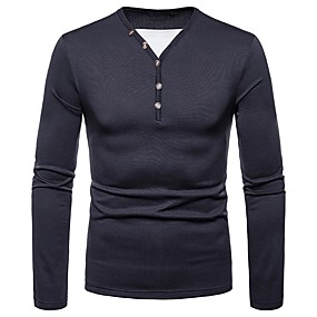 cheap Athleisure Wear-Men's T shirt Shirt Graphic Solid Colored Long Sleeve Daily Tops V Neck Wine Black Dark Gray