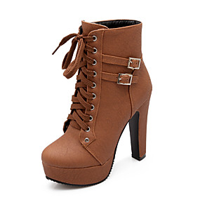 voordelige Wijdere maten schoenen-Dames Laarzen Fashion Boots Plateau Ronde Teen PU Kuitlaarzen Informeel Herfst winter Zwart / Beige / Bruin / Feesten & Uitgaan