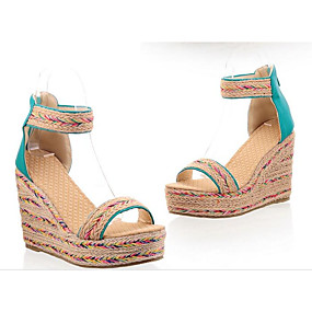 preiswerte Sandalen mit Keilabsatz-Damen Sandalen Sandalen mit Keilabsatz Keilabsatz Kunststoff Sommer Schwarz / Mandelfarben / Blau