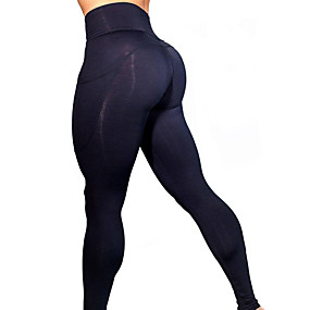 cheap Yoga & Fitness-Women's High Waist Yoga Pants Pocket Leggings Tummy Control Butt Lift 4 Way Stretch Black Red Army Green Mesh Fitness Gym Workout Running Winter Sports Activewear High Elasticity Skinny