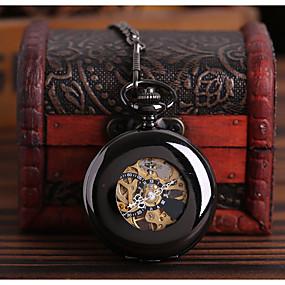 preiswerte Halloween-Uhren-Herrn Uhr Totenkopfuhr Taschenuhr Automatikaufzug Legierung Schwarz Transparentes Ziffernblatt Armbanduhren für den Alltag Totenkopf Analog Totenkopf Modisch Steampunk Schwarz