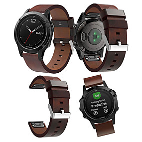 cheap Smartwatch Bands-Watch Band for Fenix 5 Garmin Leather Loop Leather / Genuine Leather Wrist Strap