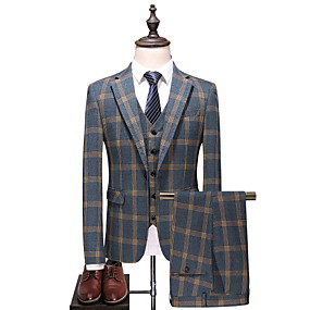 cheap Athleisure Wear-Men's Suits Coat Pants Party Daily Plaid Slim Fit Cotton / Polyester Men's Suit Gray - Peaked Lapel / Long Sleeve / Plus Size