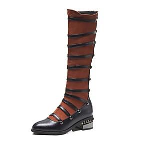 voordelige Wijdere maten schoenen-Dames Laarzen Fashion Boots Blokhak Gepuntte Teen Siernagel Suède / PU Knielaarzen Vintage Herfst winter Zwart / Bruin / Kleurenblok