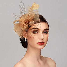 저렴한 Melbourne Cup Carnival Hats-깃털 / Net 켄터키 더비 모자 / 매혹 / 헤드 피스 와 깃털 / 꽃 / 꽃패턴 1 개 결혼식 / 특별한 때 / 티 파티 투구