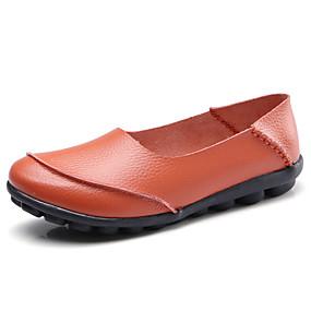 voordelige Damesschoenen met platte hak-Dames Platte schoenen Platte hak Ronde Teen Leer Klassiek / Vintage Wandelen Lente & Herfst Zwart / Bruin / Wit
