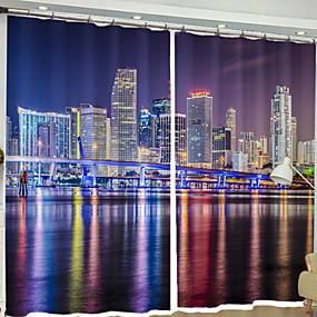 preiswerte Vorhänge und Gardinen-Modern 3D Vorhänge zwei Panele Vorhang / Verdunkelung / Schlafzimmer