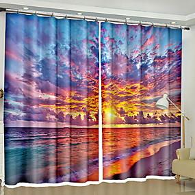 preiswerte Fensterdekoration-Modern 3D Vorhänge zwei Panele Vorhang / Verdunkelung / Schlafzimmer