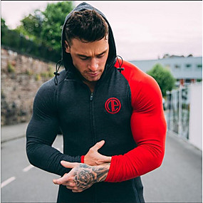 cheap Running & Jogging-Men's Long Sleeve Running Track Jacket Streetwear Outerwear Athleisure Wear Top Mesh Anatomic Design Breathable Soft Gym Workout Running Workout Sportswear White Red Grey Activewear Stretchy