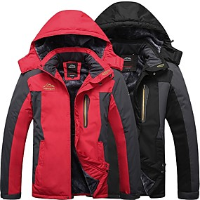 cheap Under €49-Men's Hiking Jacket Winter Outdoor Thermal / Warm Windproof Breathable Rain Waterproof Fleece Winter Jacket Top Camping / Hiking Hunting Fishing Black Army Green Red M L XL XXL XXXL