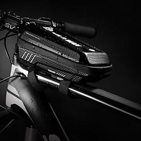 preiswerte Fahrradrahmentaschen-Fahrradrahmentasche Reflektierend Wasserdicht Tragbar Fahrradtasche PU-Leder EVA Tasche für das Rad Fahrradtasche Radsport Fahhrad
