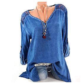 preiswerte 2019 Looks Esportivos-Damen Grafik Hemd, V-Ausschnitt Blau