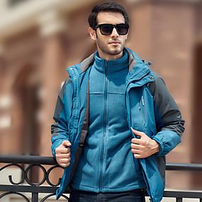 cheap Camping, Hiking & Backpacking-Men's Hiking Jacket Hoodie Jacket Autumn / Fall Winter Outdoor Windproof Rain Waterproof Anatomic Design Thick 3-in-1 Jacket Full Length Hidden Zipper Ski / Snowboard Fishing Climbing Black Red Blue