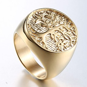cheap Street-Men's Ring Signet Ring 1pc Champagne Titanium Steel Steel Stainless Round Stylish Unique Design Punk Daily Street Jewelry Stylish Sculpture Engraved Tree of Life Cool