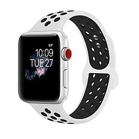 preiswerte Smart Watch Band-Silica Gel Uhrenarmband Gurt für Apple Watch Series 4/3/2/1 Schwarz / Weiß 23cm / 9 Zoll 2.1cm / 0.83 Inch