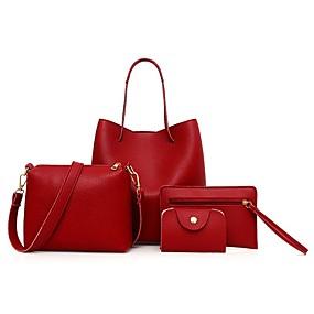 preiswerte Taschen-Damen Reißverschluss PU Bag Set Beutel Sets 4 Stück Geldbörse Set Schwarz / Braun / Wein