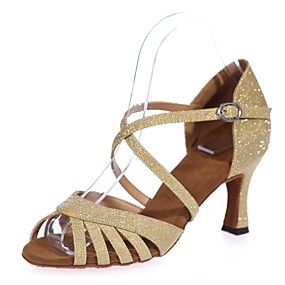 cheap Dance Shoes Classic Collection-Women's Dance Shoes Synthetics Latin Shoes Buckle Sandal Flared Heel Brown / Red / Blue / Performance / Leather / Practice