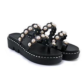 preiswerte Sandalen mit flachen Absätzen-Damen Sandalen Flacher Absatz PU Sommer Schwarz / Weiß / Rosa