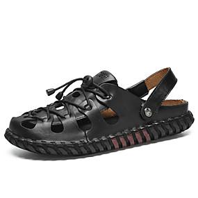 levne Větší obuv-Pánské Komfortní boty Kůže Léto Vintage / Na běžné nošení Sandály Prodyšné Černá / Hnědá / Žlutá / Venkovní