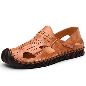 preiswerte Sapatos-Herrn Komfort Schuhe Leder Sommer Retro / Freizeit Sandalen Atmungsaktiv Schwarz / Braun / Draussen