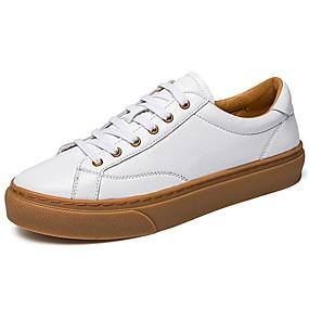 levne Větší obuv-Pánské Kožené boty Kůže Jaro sportovní / Vintage Oxfordské Masáž Černá / Bílá / Komfortní boty