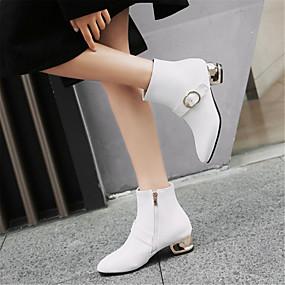levne Větší obuv-Dámské Fashion Boots PU Zima Boty Kačenka Oblá špička Kotníčkové Bílá / Černá / Červená
