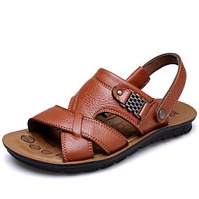 voordelige Wijdere maten schoenen-Heren Comfort schoenen Leer Zomer Informeel Sandalen Ademend Zwart / Bruin / Koffie