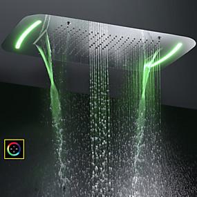 preiswerte Duschköpfe-71x43 cm Bad Duschkopf / Edelstahl sus 304 / zeitgenössische / Blase atomisierende Wasserfall Regen vier Funktionen / mit bunten LED-Licht durch Touch-Panel geändert