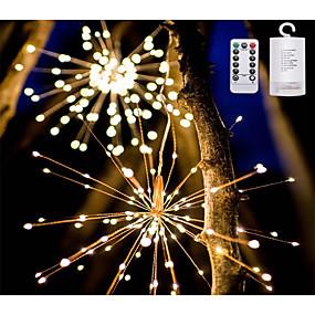 cheap Light Strips & Strings-30cm*8 Smart Lights 120 LEDs 1 set Warm White Cute Decorative Adorable AA Batteries Powered