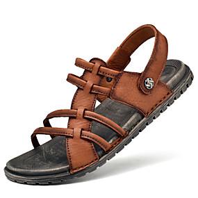 voordelige Wijdere maten schoenen-Heren Comfort schoenen Nappaleer Zomer Sandalen Waterschoenen Ademend Zwart / Bruin / ulko-
