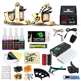 voordelige Tatoeagesets voor beginners-DRAGONHAWK Tattoo Machine Beginnersset, 2 pcs Tattoeagemachines met 4 x 5 ml tatoeage-inkten - 2 x Gietijzeren tatoeage machine voor