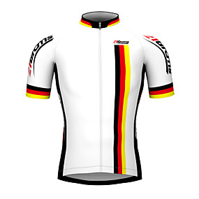 cheap Cycling & Motorcycling-21Grams Men's Short Sleeve Cycling Jersey White Germany Champion National Flag Bike Jersey Top Mountain Bike MTB Road Bike Cycling Breathable Waterproof Zipper Sports 100% Polyester Clothing Apparel