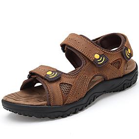 levne Větší obuv-Pánské Komfortní boty Kůže Léto Vintage / Na běžné nošení Sandály Prodyšné Hnědá / Venkovní