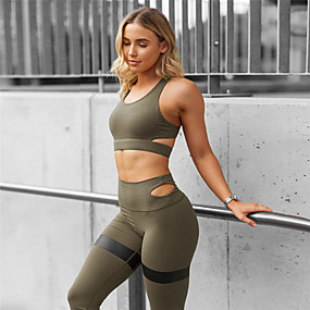 cheap Exercise, Fitness & Yoga-Women's Yoga Suit 2 Piece Padded Black Army Green Blue Mesh Fitness Gym Workout Running High Waist Tights Leggings Bra Top Sport Activewear Tummy Control Butt Lift Freedom High Elasticity Slim