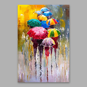 cheap Abstract Paintings-Oil Painting Handmade Hand Painted Wall Art Home Decoration Décor Living Room Bedroom Rain Umbrella Abstract Modern Rolled Canvas With Stretched Frame