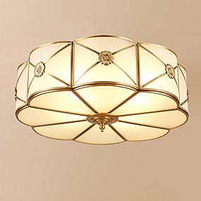 povoljno Lámpatestek-3-Light Cirkularno Flush Mount Ambient Light Antique Brass Metal Glass Kreativan 110-120V / 220-240V Meleg fehér
